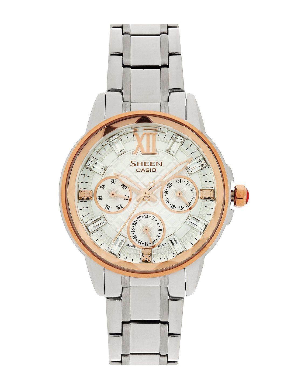 Casio Sheen Women Silver-Toned Dial Watch SX083