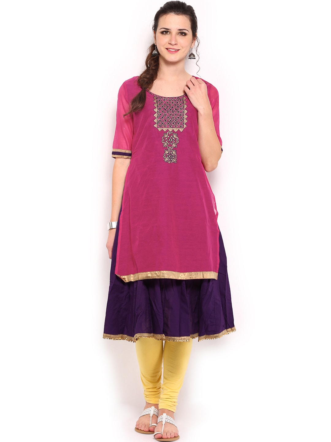 Lifestyle Melange By Lifestyle Women Pink & Purple Kurta (Multicolor)