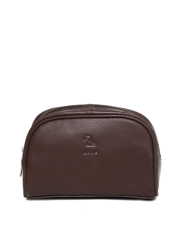 Kara Unisex Brown Leather Travel Pouch