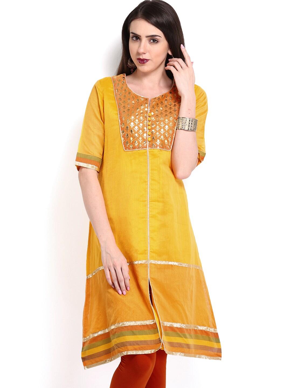 Lifestyle Melange By Lifestyle Women Yellow & Orange Kurta (Multicolor)