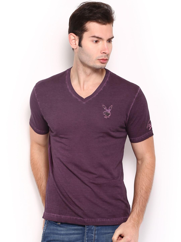 Playboy Playboy Men Purple Vintage Signature T-Shirt (Multicolor)