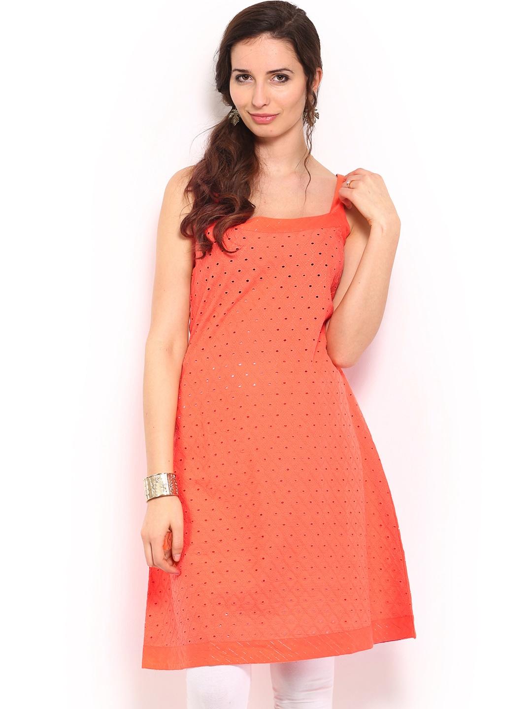 Lifestyle Melange By Lifestyle Women Coral Orange Embroidered Kurta