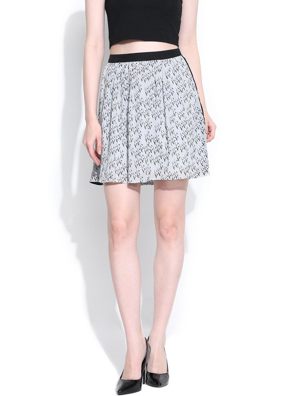 Vero Moda Grey Printed Flared Skirt