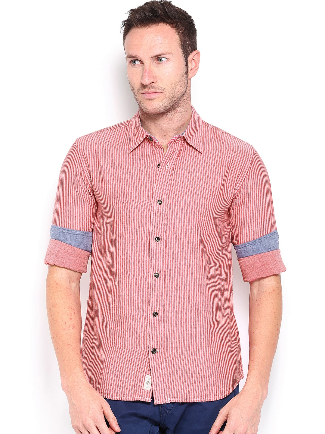 Timberland Timberland Men Red Striped Slim Fit Smart-Casual Shirt