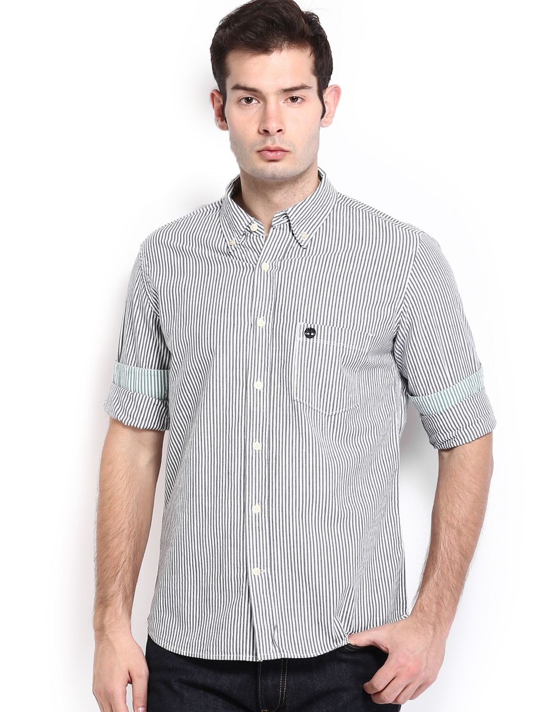 Timberland Timberland Men Grey & White Striped Slim Fit Smart-Casual Shirt (Multicolor)