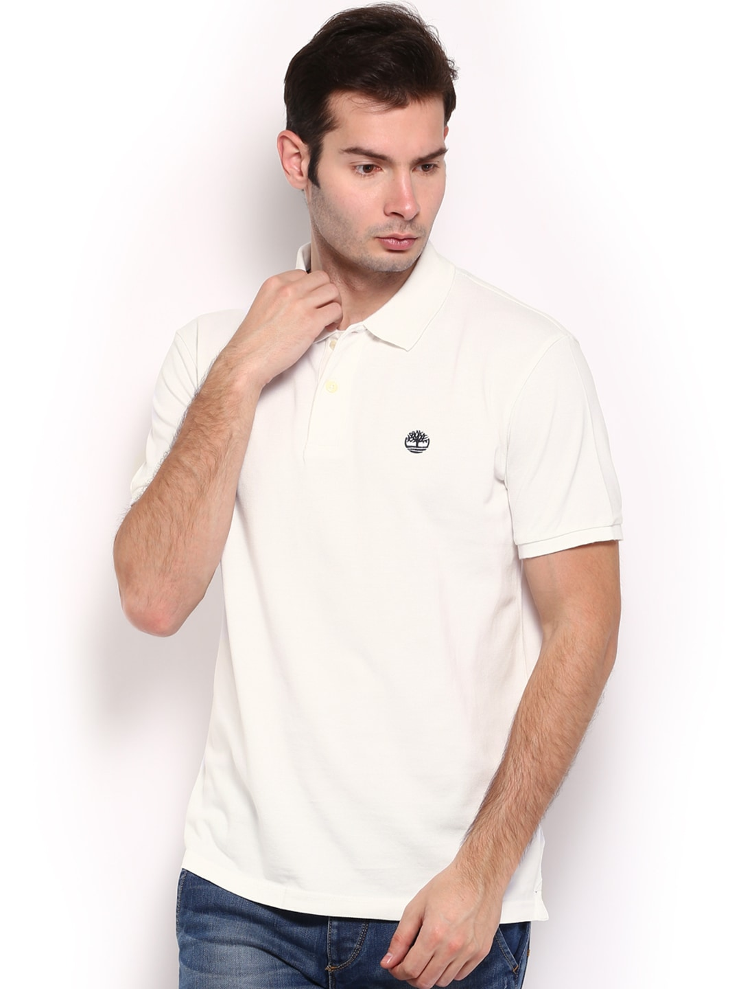Timberland Timberland Men White Pique Polo T-Shirt (Multicolor)