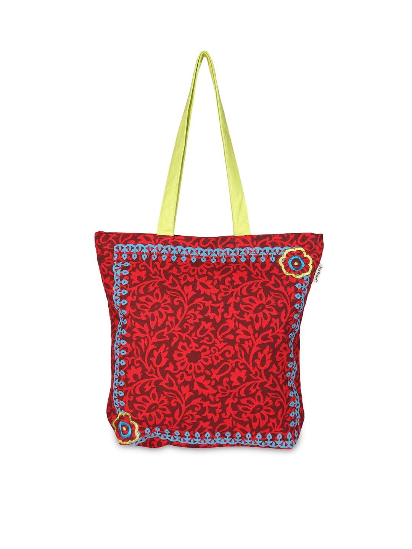 Pick Pocket Women Maroon Printed Tote Bag