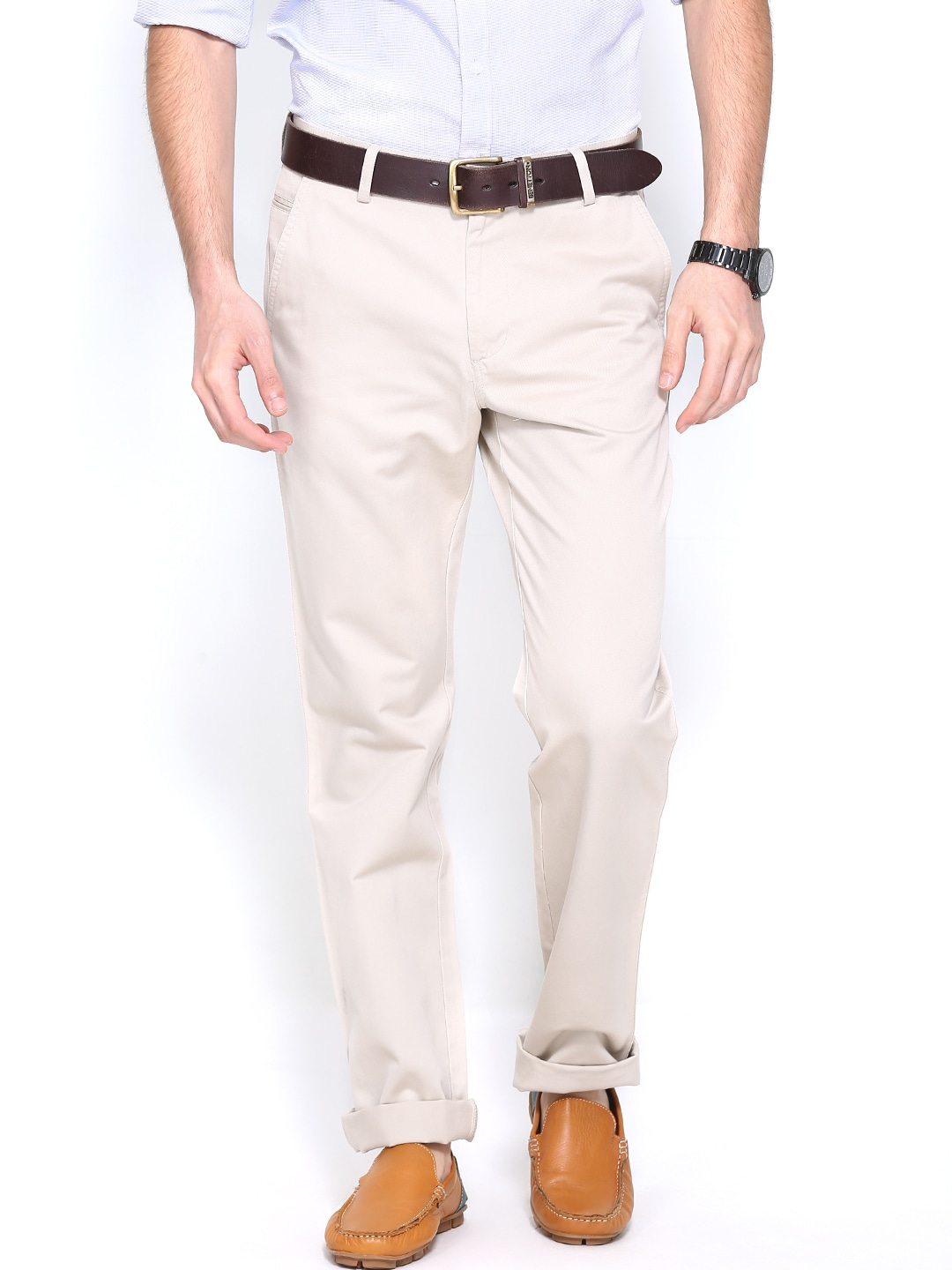 Allen Solly Men Beige Custom Slim Fit Trousers