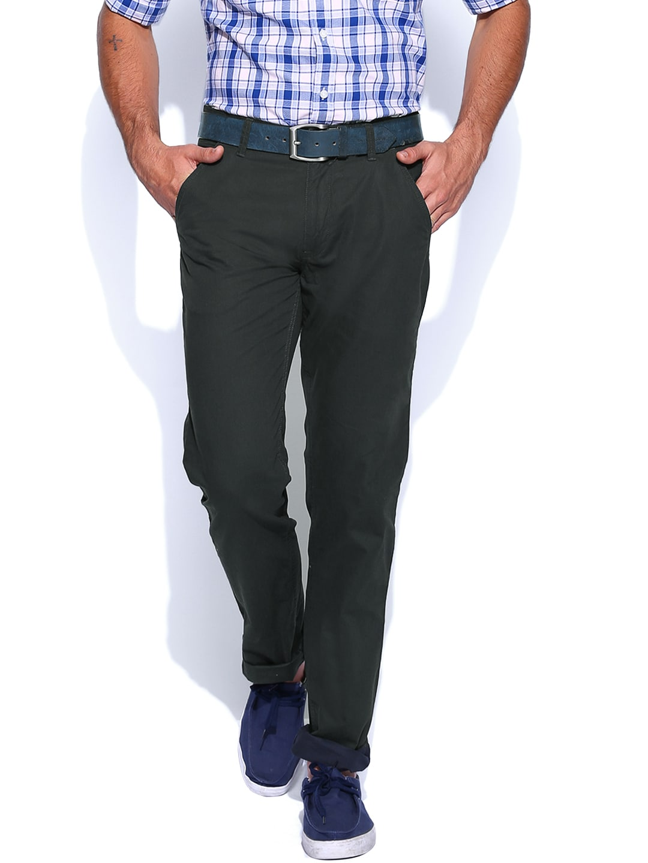 IZOD Men Dark Green Slim Fit Trousers