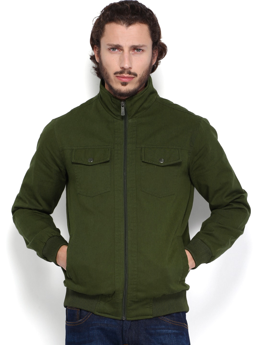 Olive People Men Olive Green Jacket (Multicolor)