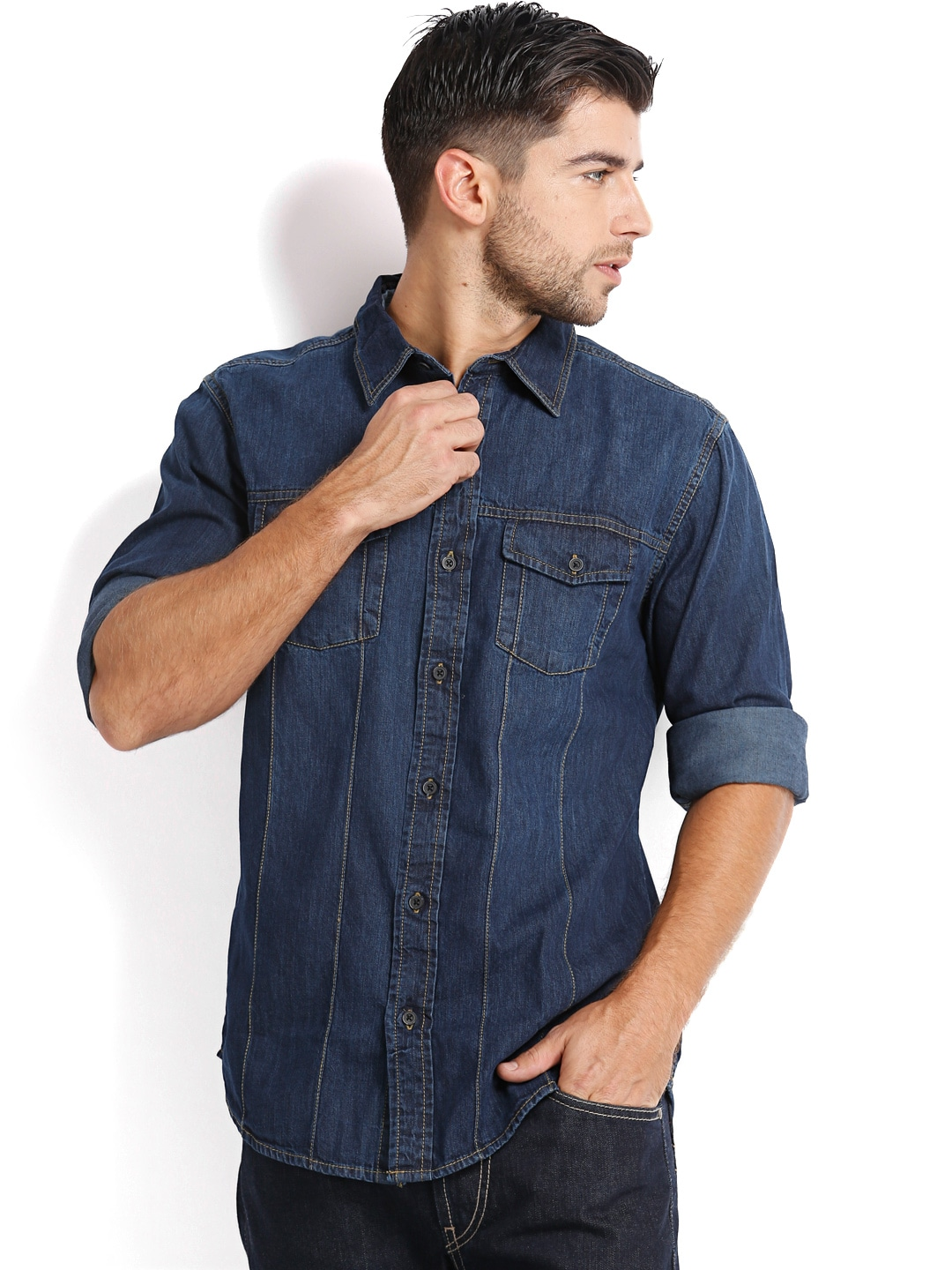 Denim People Men Blue Denim Shirt