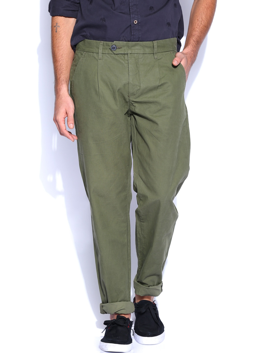 Premium by Jack & Jones Olive Green Casual Trousers