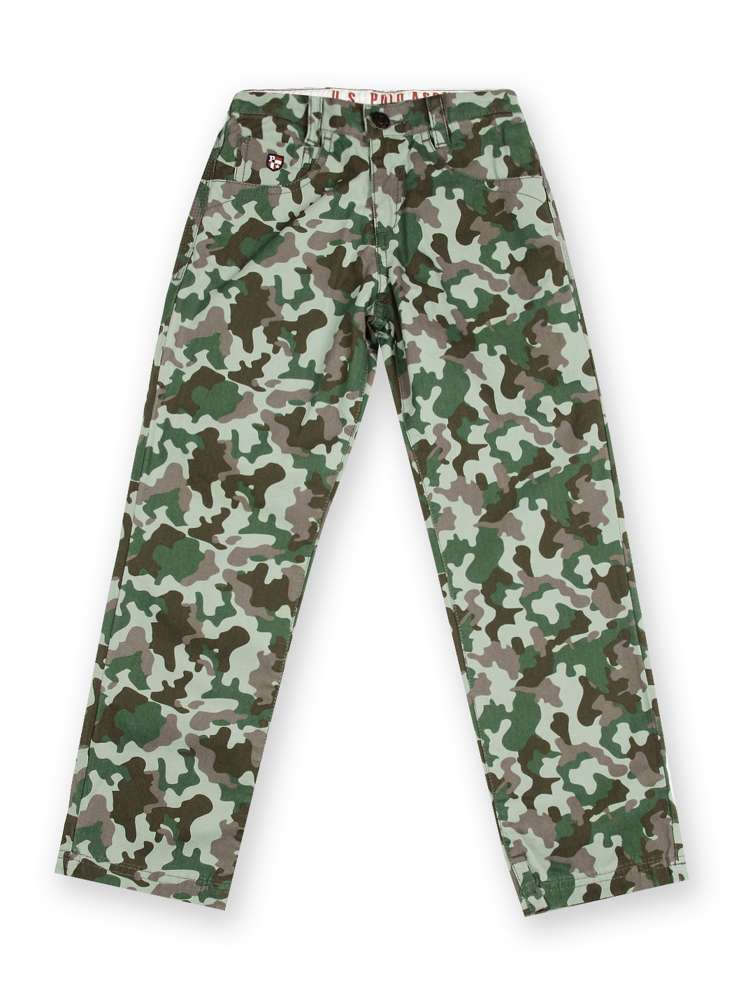 U.S. Polo Assn. Kids Boys Green & Brown Camouflage Printed Trousers