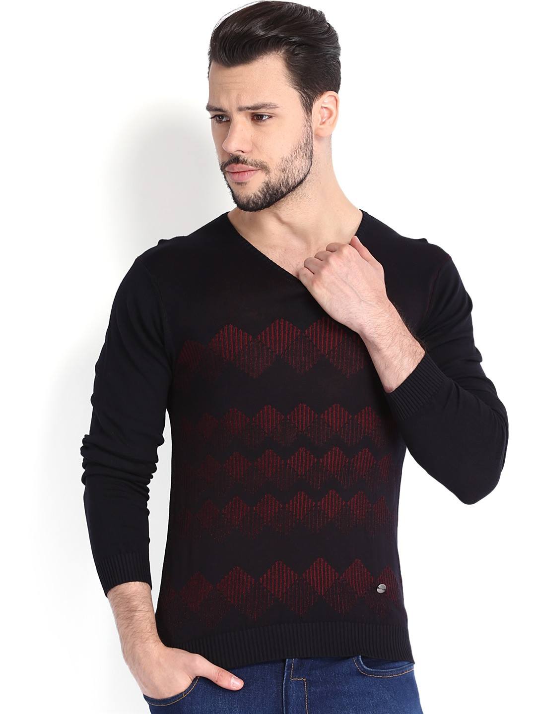 Arrow New York Men Black & Red Sweater