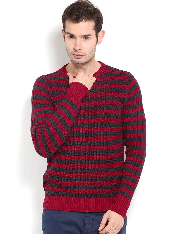 Nautica Men Red & Navy Striped Sweater