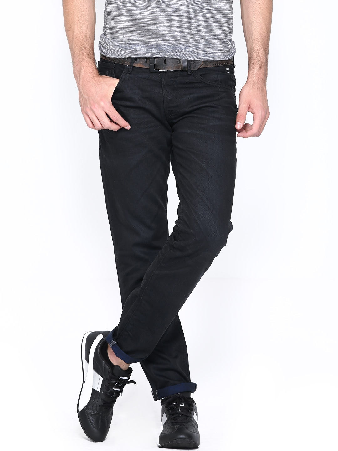 Jack & Jones Men Black Comfort Fit Jeans