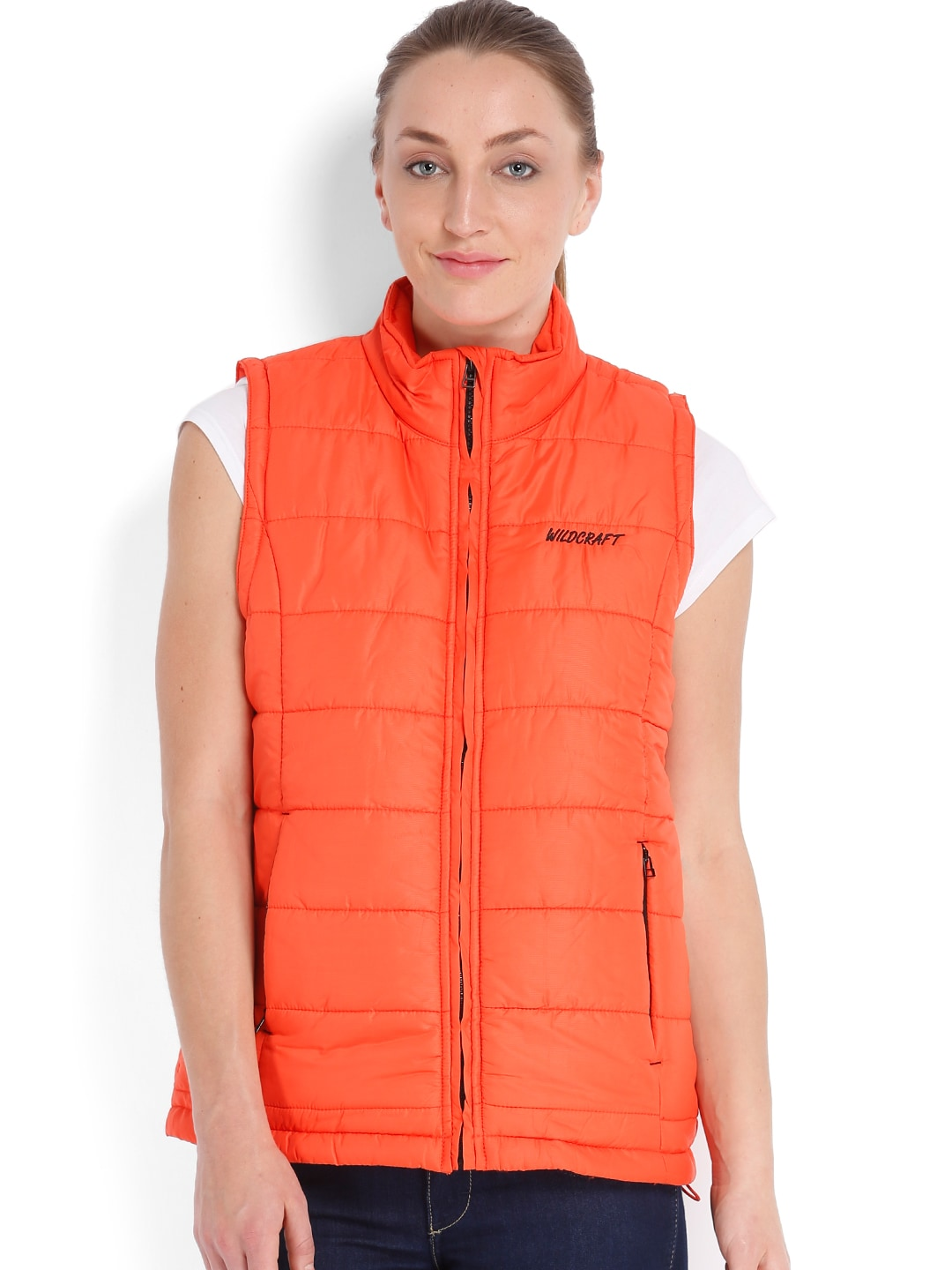 Wildcraft Wildcraft Women Orange Sleeveless Padded Husky Jacket