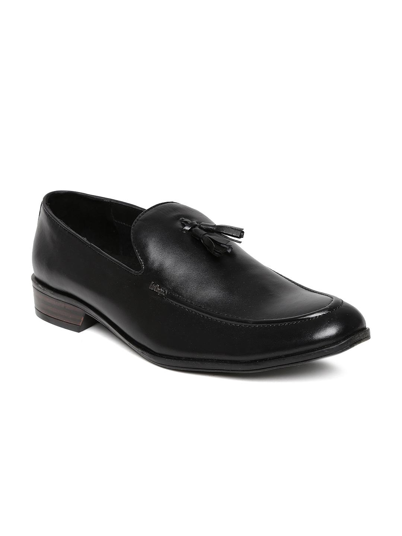Lee Cooper Men Black Leather Semiformal Shoes
