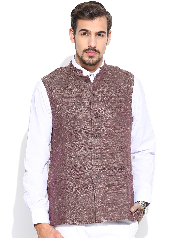 Fabindia Men Pink & Beige Handwoven Silk Nehru Jacket