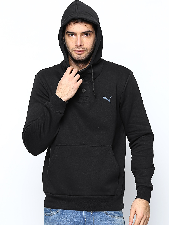 Puma Men Black Hooded 1/2 Button Sweatshirt