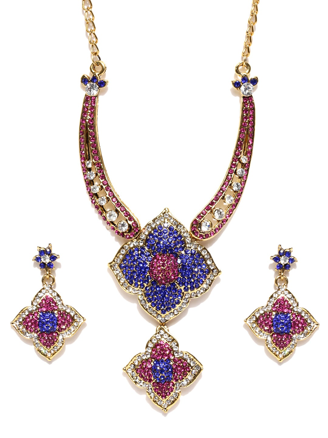 Sukkhi Blue & Pink Gold-Plated Stone-Studded Jewellery Set