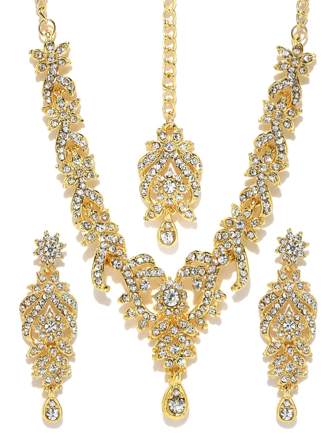 Sukkhi Silver-Toned Gold-Plated Jewellery Set