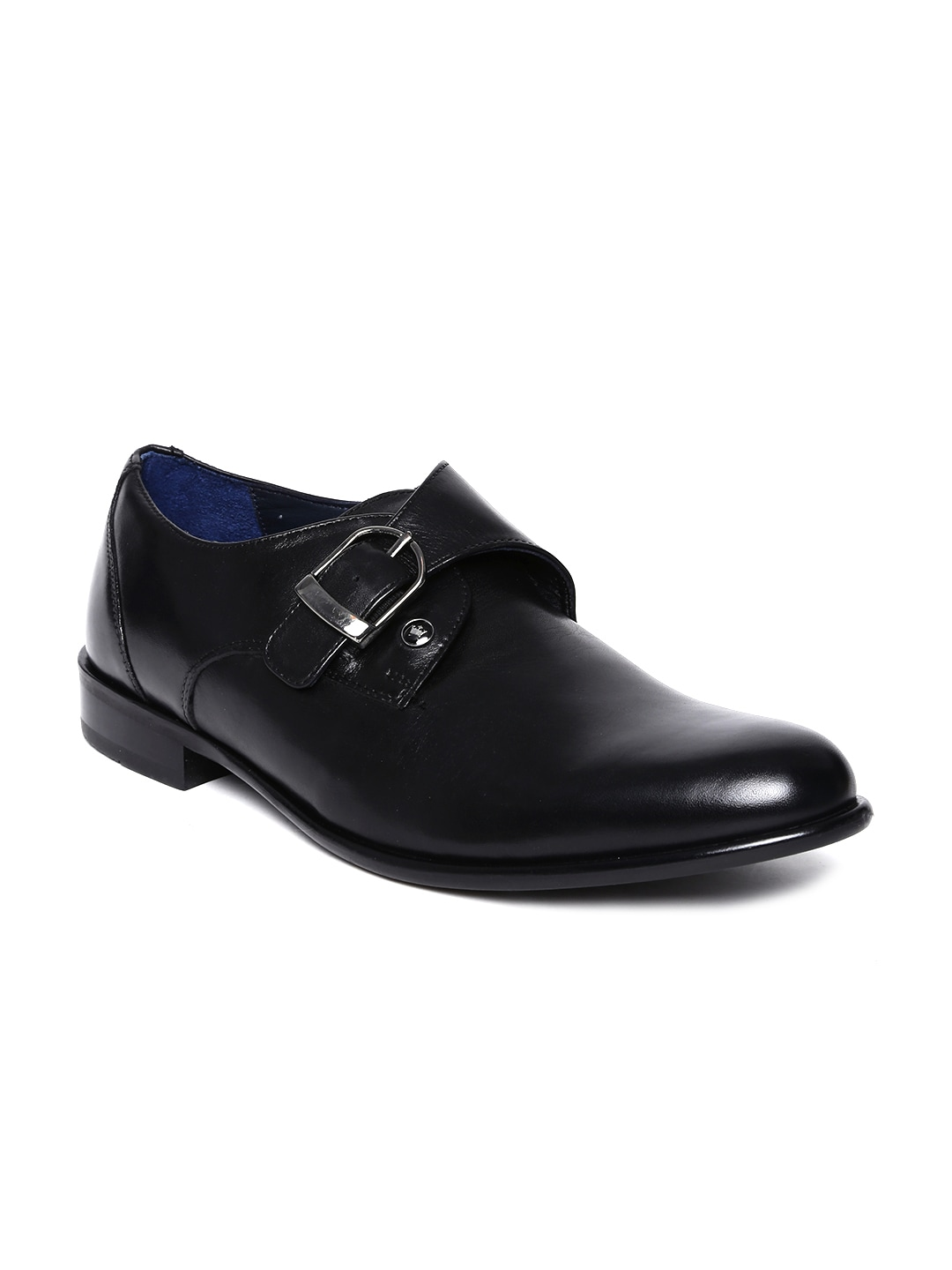 Louis Philippe Men Black Crust Leather Formal Shoes