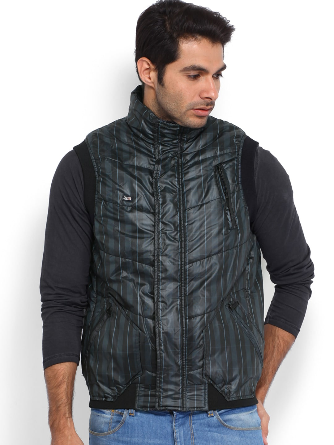Arrow Sport Men Black & Blue Checked Padded Jacket