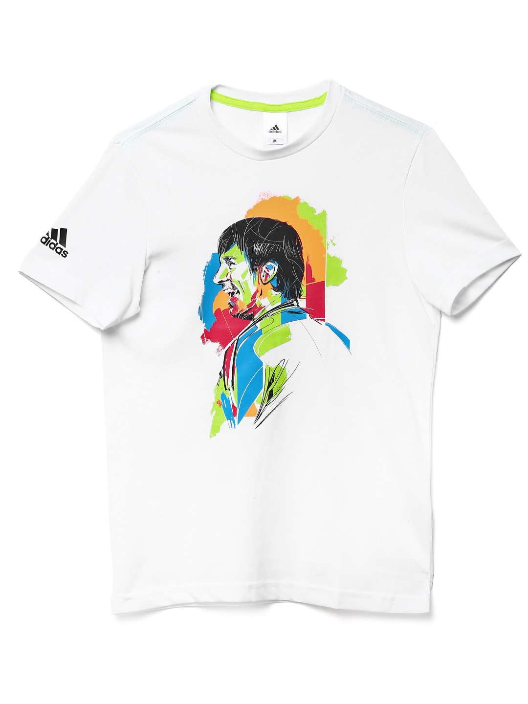 Adidas Adidas Men White Messi G Fan Printed T-Shirt (Multicolor)