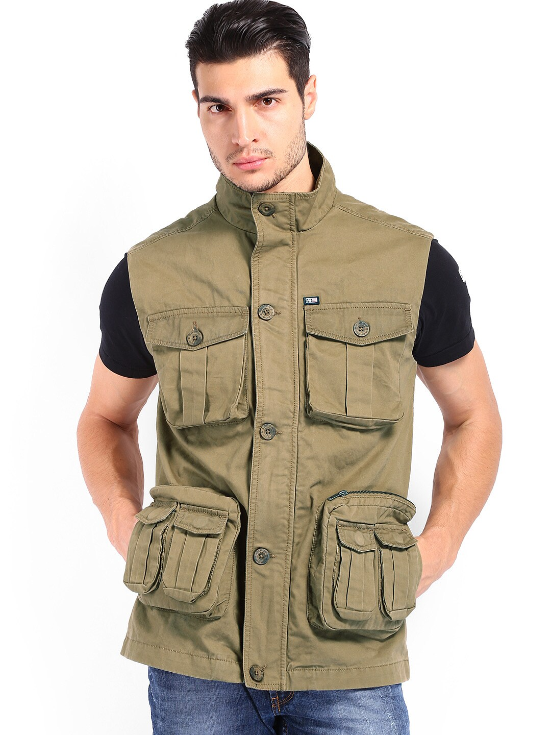 Arrow Sport Men Khaki Sleeveless Jacket