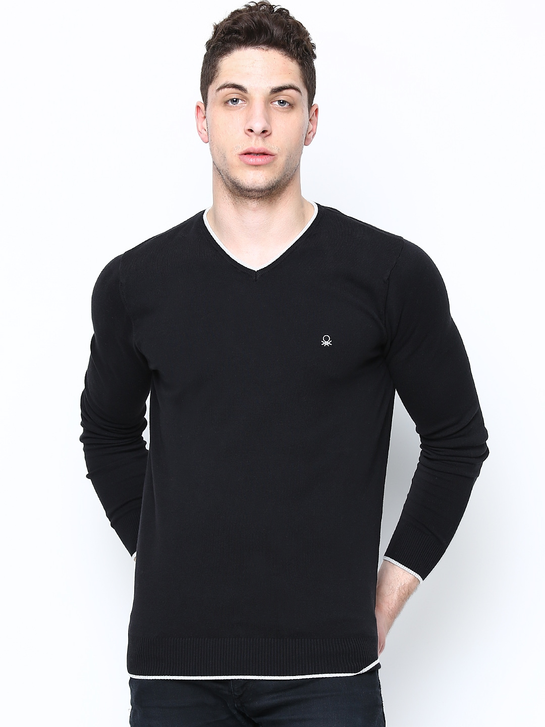 United Colors of Benetton Men Black Sweater