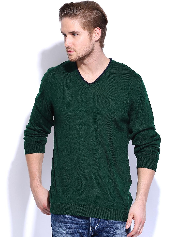 Wills Lifestyle Men Green Woollen Sweater