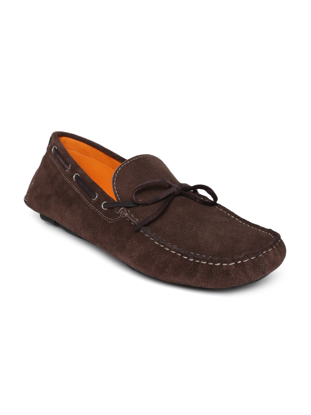 Famozi Famozi Men Coffee Brown Leather Boat Shoes (Multicolor)