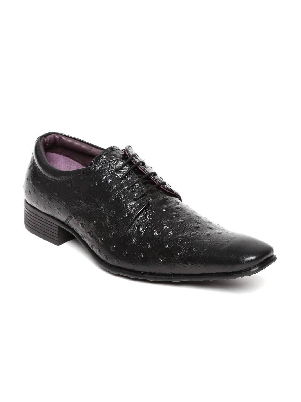 Clarus Men Black Leather Semiformal Shoes