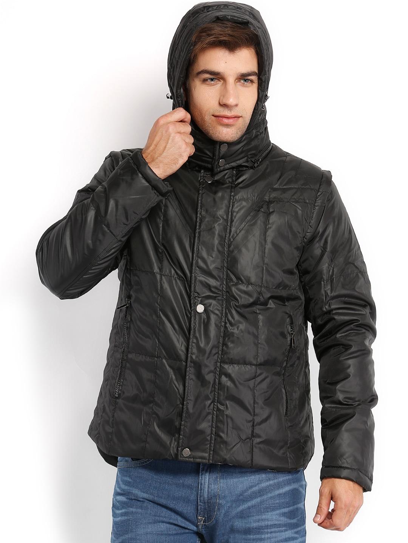 Peter England Men Black Padded Jacket