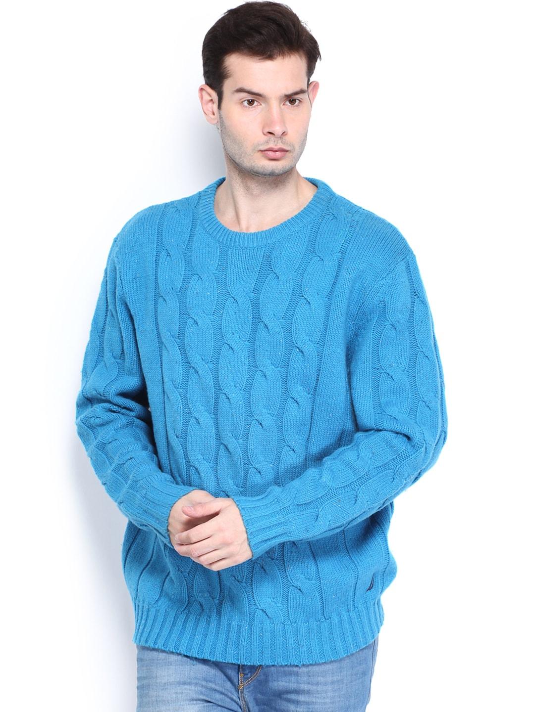 Nautica Men Blue Woollen Cable Crew Sweater