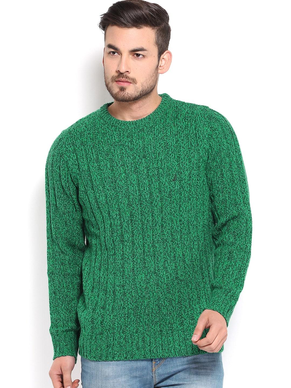 Nautica Men Green Woollen Sweater