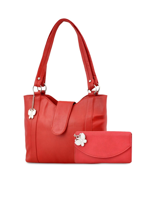 Butterflies Red Handbag Wallet Set
