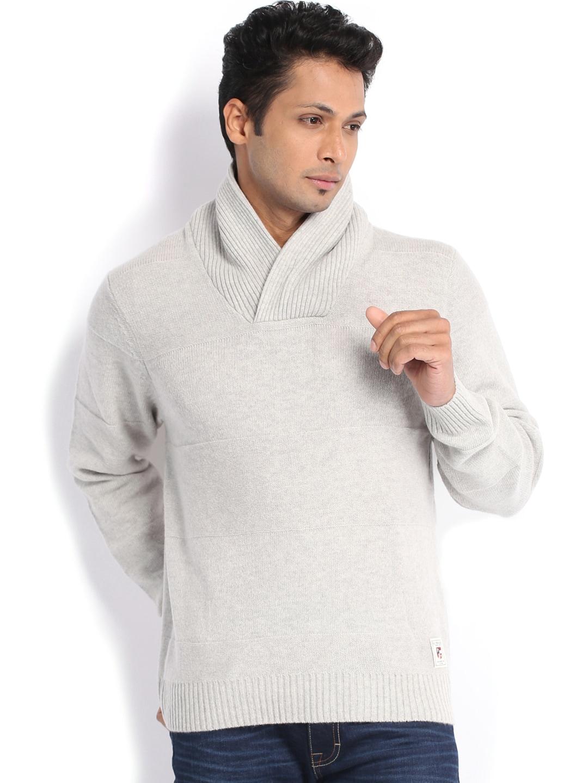 U.S. Polo Assn. Men Light Grey Woollen Sweater
