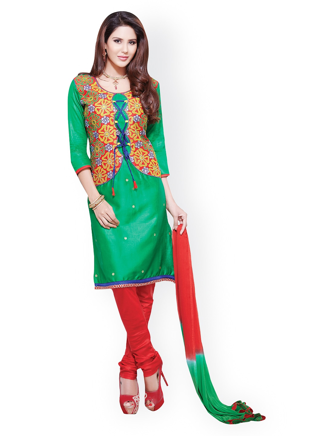 Lifestyle 7 Colors Life Style Green & Red Cotton Unstitched Dress Material (Multicolor)
