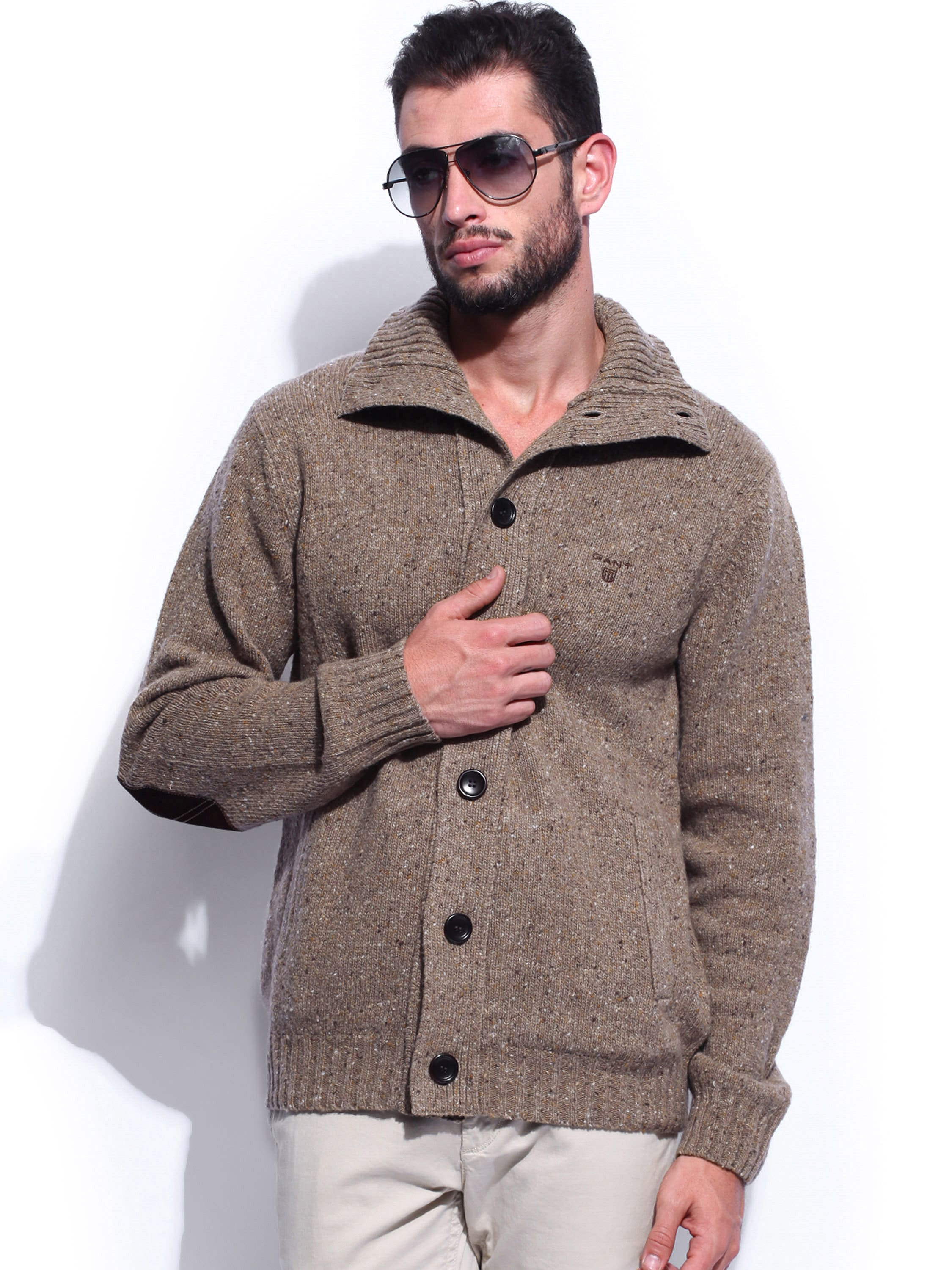 GANT Men Light Brown Woollen Cardigan