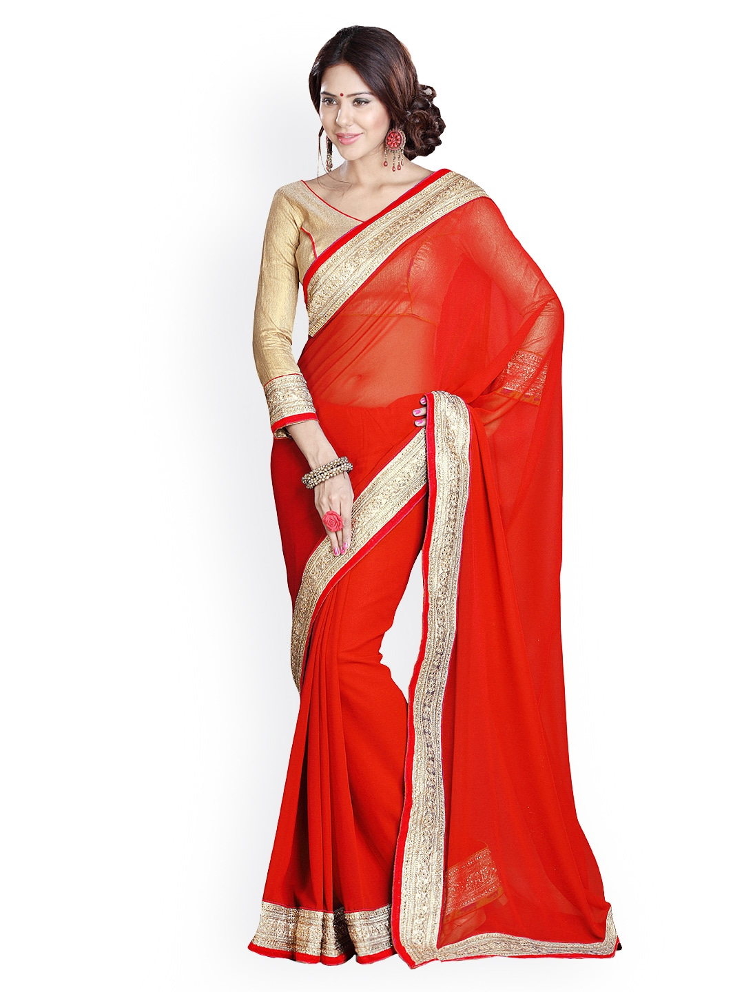 Mirchi Fashion Red Embroidered Georgette Fashion Saree