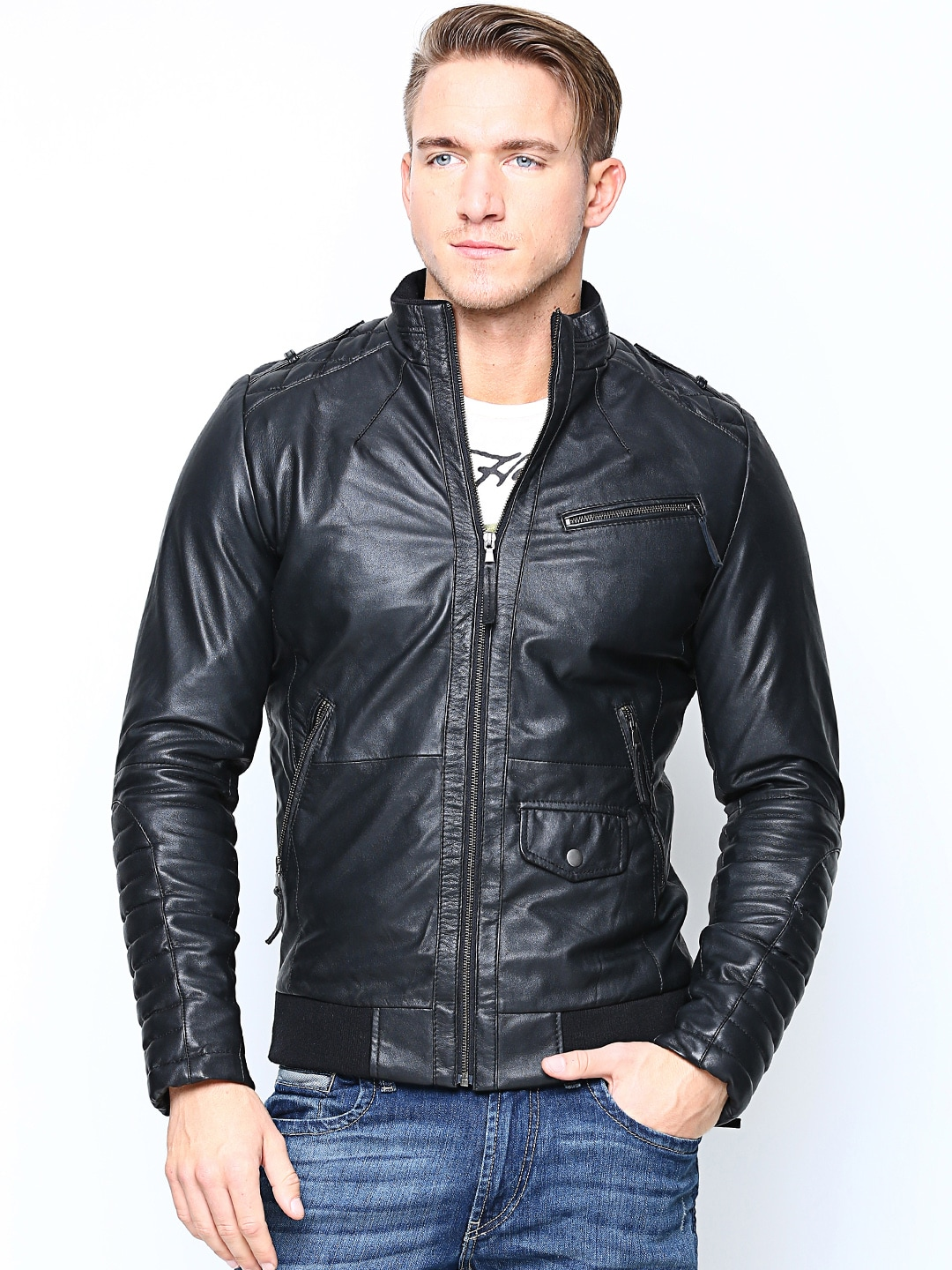 BARESKIN Men Black Leather Jacket