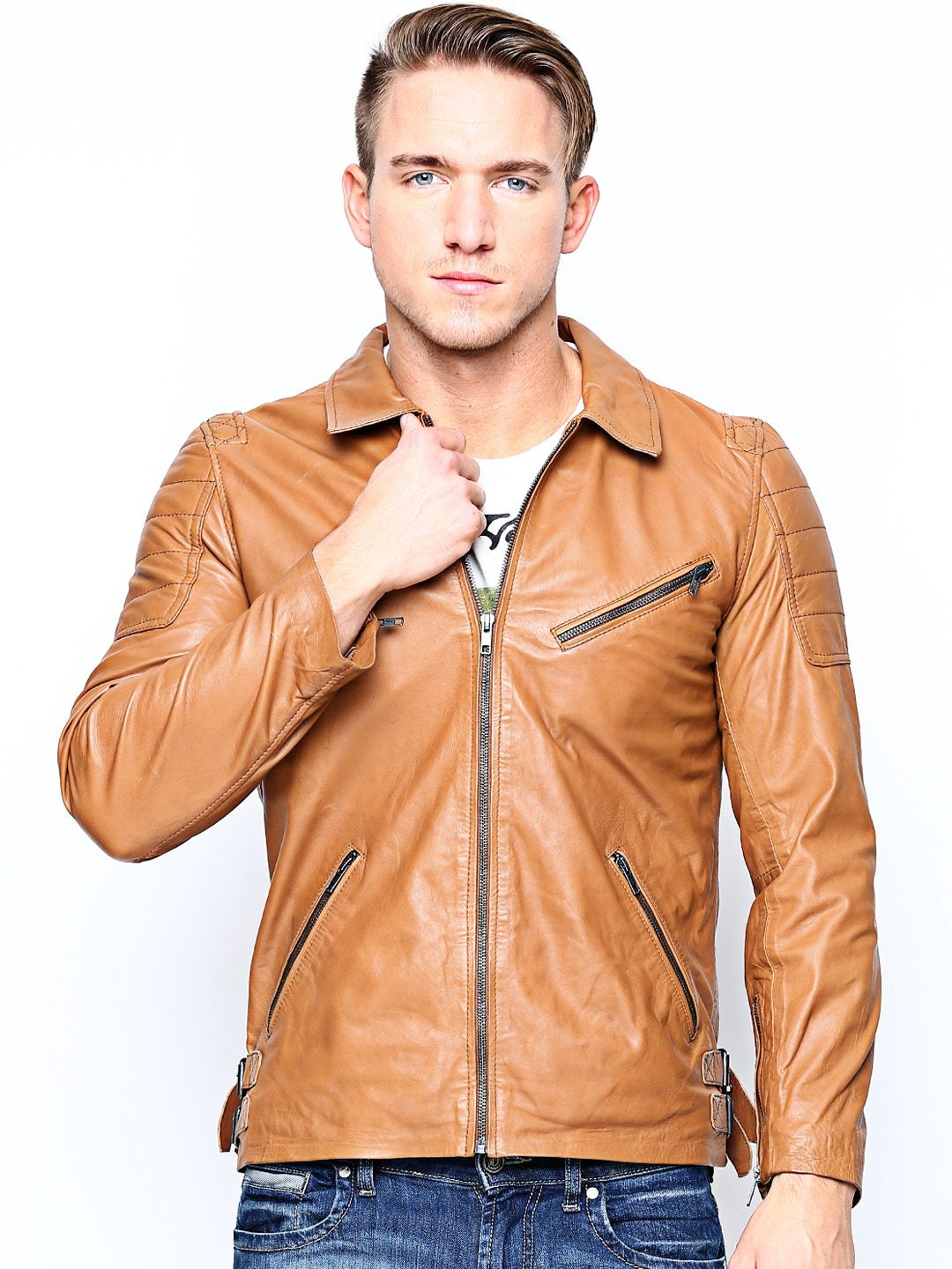 BARESKIN Men Brown Leather Jacket