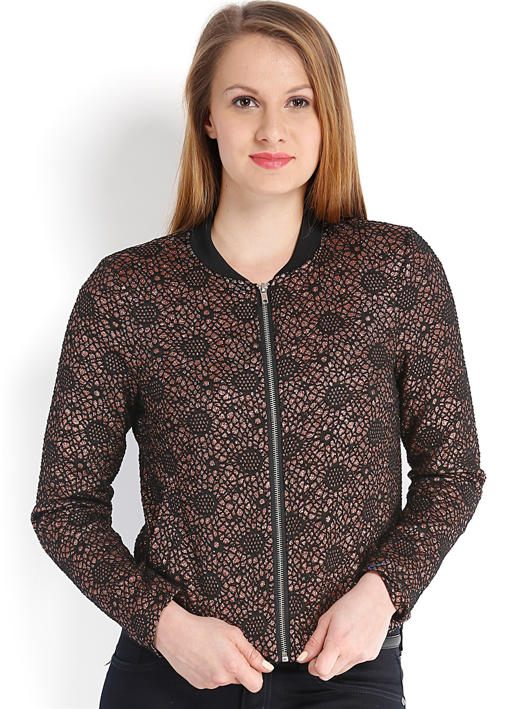 Vero Moda Women Black & Metallic Brown Bomber Jacket