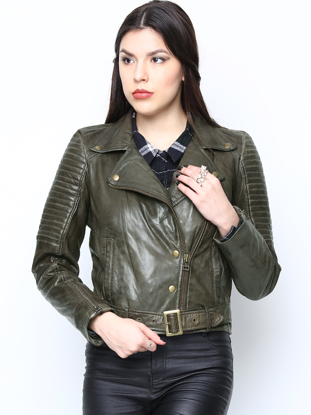 BARESKIN Women Olive Green Leather Jacket
