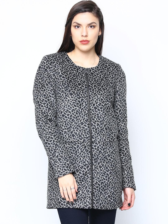 Vero Moda Women Black & Off-White Animal Print Jacket