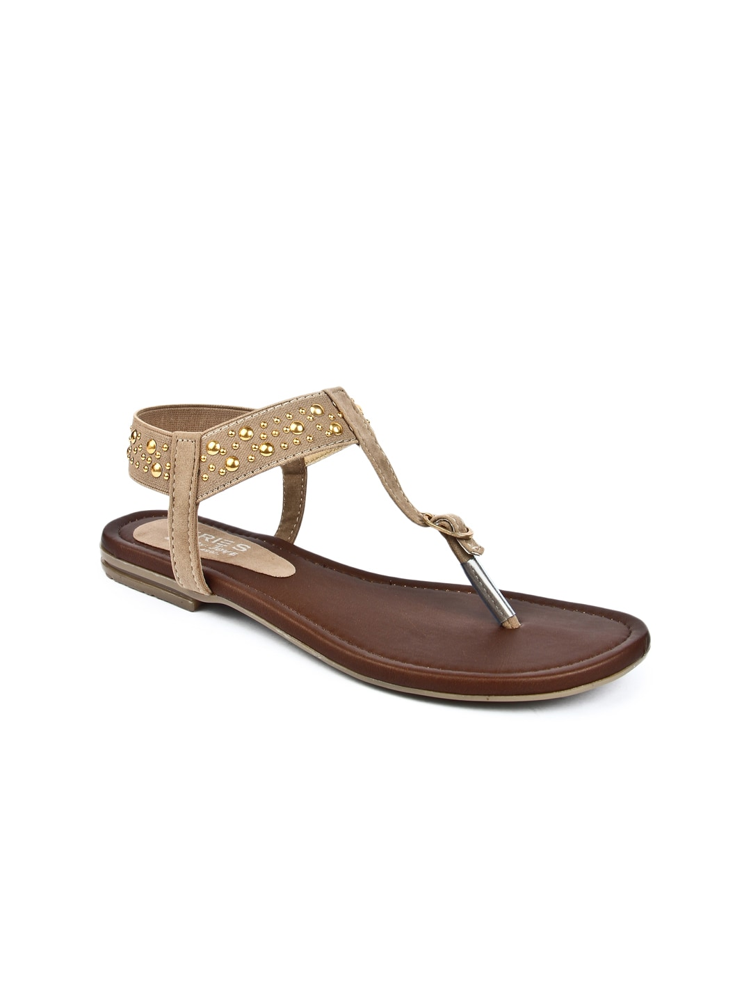 Jove Series By Jove Women Beige & Gold-Toned Flats (Beige\/Sand\/Tan)
