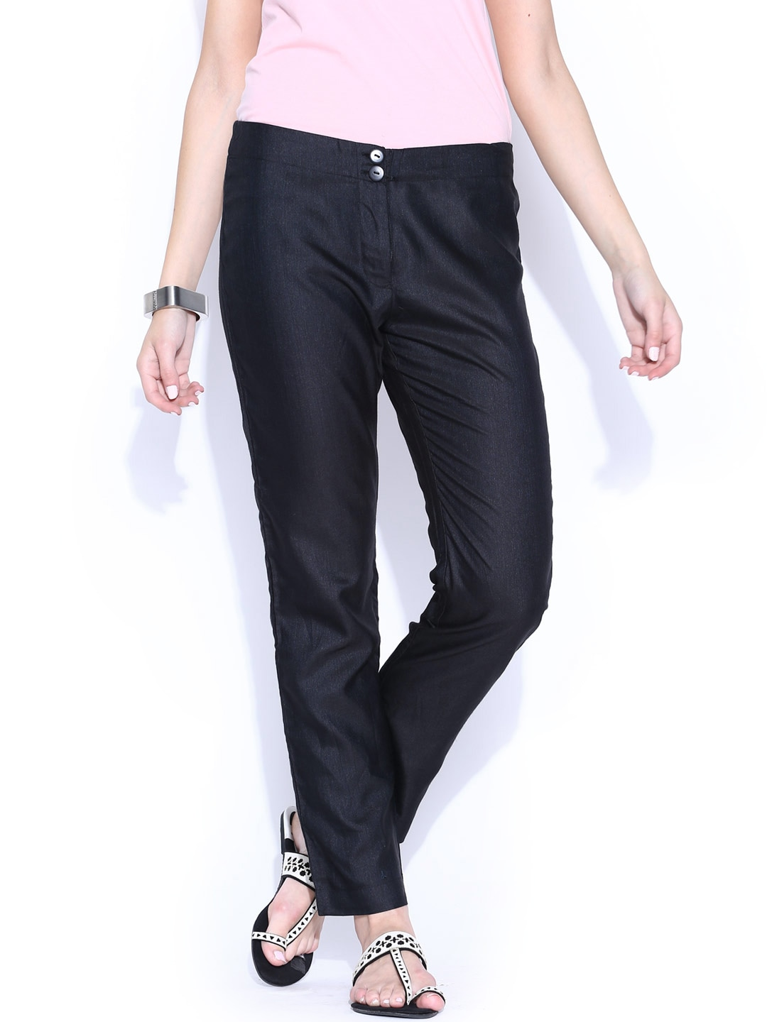 Fabindia Women Black Tussar Silk Cotton Trousers