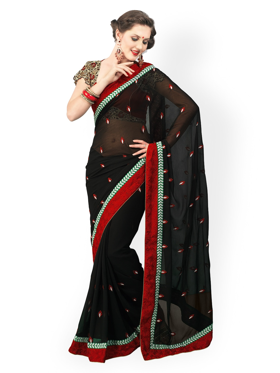 Chirag Sarees Chirag Sarees Black Embroidered Chiffon Fashion Saree (Multicolor)